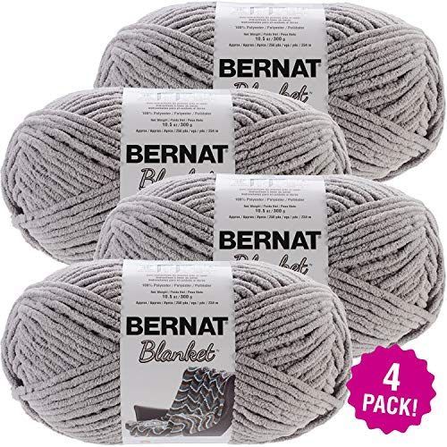 Bernat Blanket Big Ball Yarn Grey, Multipack of 4, Pale Gray 4 Pack