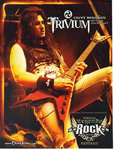 Print ad: 2007 Dean Guitars, Dime Razorback V, Corey Bealieu Trivium'Young Legends Rock'