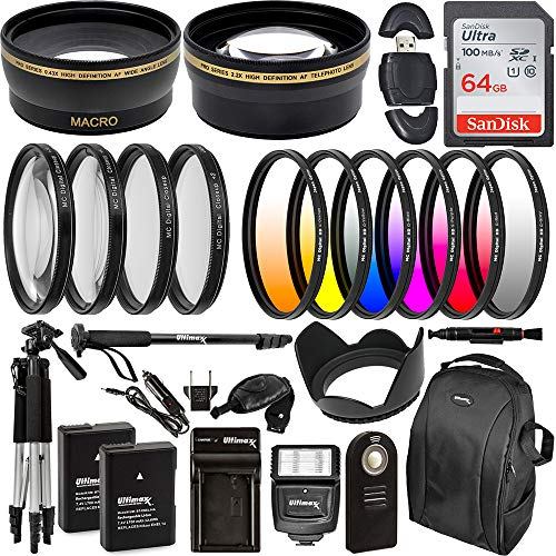 """Ultimaxx 55MM Accessory Kit for Nikon D3300, D3400, D5500, D5600, and More - Includes: 2X EN-EL14A Replacement Batteries, Digital HD Filter Kits, Lightweight 57"""" Tripod, Backpack & More"""