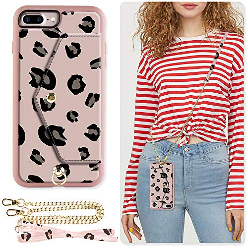 ZVE Wallet Case for Apple iPhone 8 Plus and iPhone 7 Plus, 5.5 inch, Crossbody Chain Case with Credit Card Holder Slot Handbag Purse Case for Apple iPhone 8/7 Plus 5.5 inch - Leopard Print