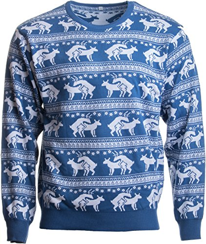 Ann Arbor T-shirt Co. Reindeer Humping Ugly Christmas Sweater w/Holiday Insertion & Christmas Dongs - (S, Blue)