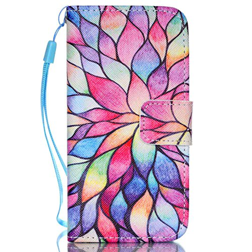 Compatible with iPhone 5S Case,iPhone 5 Case,iPhone SE Case,[Wrist Strap][Kickstand] Pattern Premium PU Leather Wallet [Card/Cash Slots] Flip Cover for iPhone 5 5S SE +Crystal Pen (Water Lily)