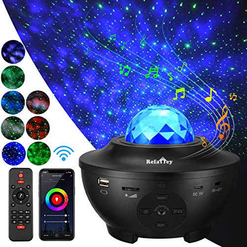 Galaxy Star Projector Smart Starry Night Light Works with Alexa, Google Assistant, 16 Colors Phone App Remote Control, Night Light Projector with Bluetooth Speaker for Bedroom for Baby Kids Adults