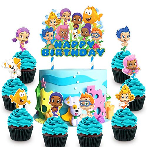 Decorations for Bubble Guppies Cake Topper Cupcake Toppers Birthday Party Supplies Toppers for Children