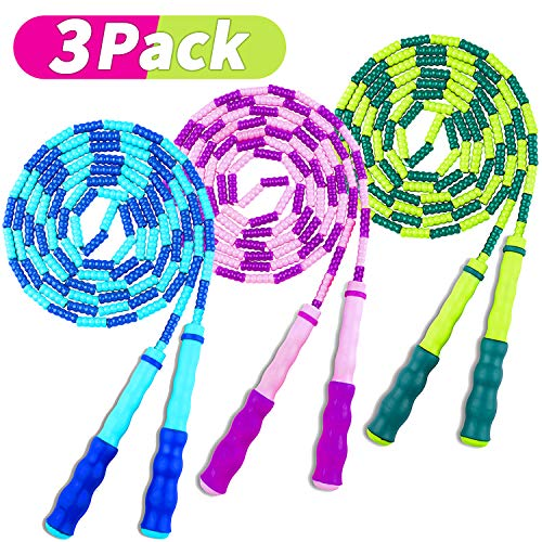 COOYOO Jump Rope Soft Beaded Skipping Rope (3 Pack), Premium Adjustable Free Segmented Tangle-Free Workout Fitness Cardio Skip Rope School Jumping Rope for Men Women Kids,9 Feet