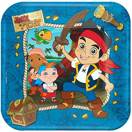 American Greetings Jake and the Neverland Pirates Party Supplies, Square Paper Dinner Plates (8-Count)