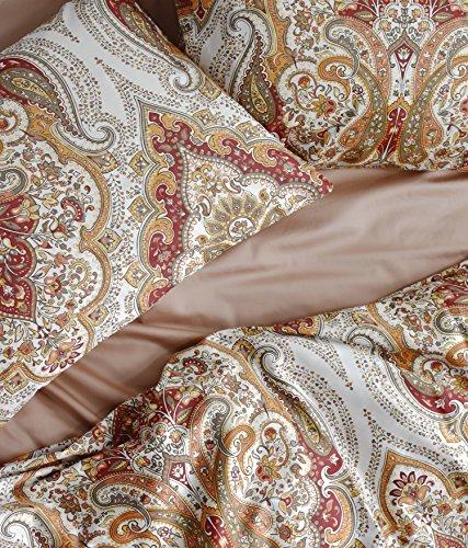 Tahari Home Duvet Quilt Cover Bohemian Style Moroccan Paisley Damask Medallion Print Cotton Sateen 3 Piece Bedding Set (Queen, Rust Copper)