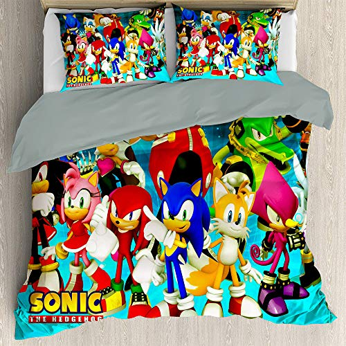 Three Piece Bedding Sets Full Size, Anime Bedding Sonic The Hedgehog Unstoppable Hedgehog Comforter Bedding Set Ultra Soft and Breathable Comforter Cover (Us Twin 172cmx218cm)