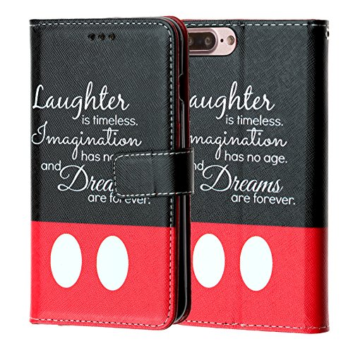 iPhone 7 Plus Wallet Case, IMAGITOUCH Folio Flip PU Leather Wallet Case with Kickstand Wrist Strap and Card Slots for iPhone 7 Plus - Disney Quotes Laughter is Timeless Wallet