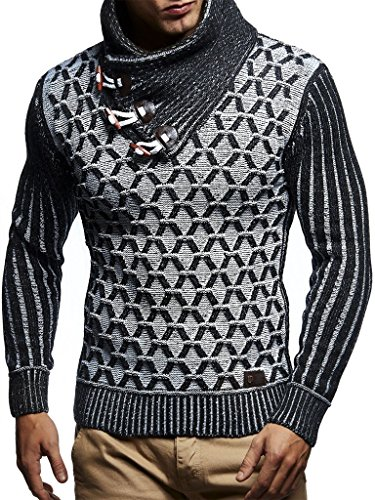 Leif Nelson Men's Knitted Pullover | Long-sleeved with geometric pattern | Winter pullover with shawl collar for Men