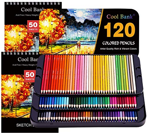 120 Colored Pencils, Artist Pencils Set with 2x50 Page Drawing Pad(A4)for Coloring Books, Premium Artist Soft Series Lead with Vibrant Colors for Sketching, Coloring