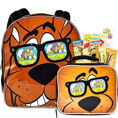 Scooby Doo Backpack and Lunch Box Set for Kids ~ Deluxe 15' Scooby Backpack with Matching Lunch Bag and Stickers (Scooby Doo School Supplies)