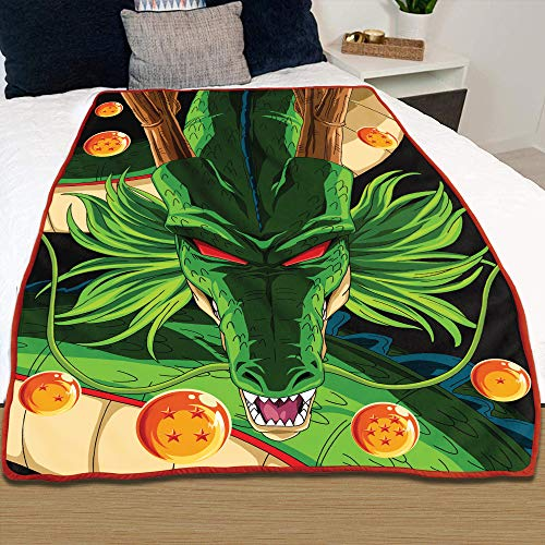 "JUST FUNKY Dragon Ball Super Shenron Dragon Blanket [Black, Orange, Green 45"" x 60""] DBS Blanket for Bed, DBZ Plush Throw Fleece Comforter, Anime Bedding for Kids and Adults (Officially Licensed)"