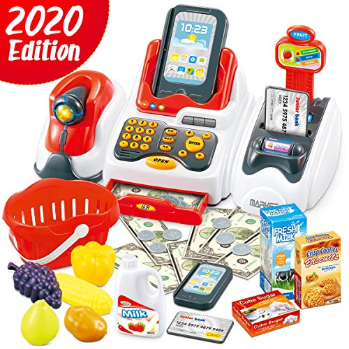 Cheffun Play Cash Register Toys for Kids - Toy Grocery Store Pretend Play Set with Scanner Credit Reader Preschool Learning for Girls Boys Age 3 4 5 6 Checkout Game
