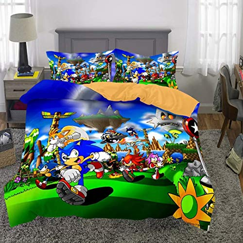 Supstar Boys Comforter Bedding Set 2 Piece Set Twin Sonic The Hedgehog Knuchles with 1 Duvet Cover 1 Pillow Shams S5