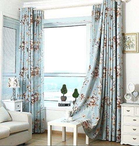 Elleweideco Blue with Brown Flower Linen Sheer Window Curtain/Drape/Panel (63'' L 84'' L 95'' L) (52Wx84L Curtain)