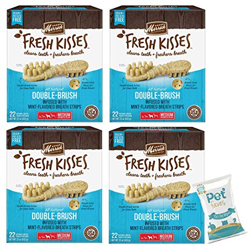 Pet Faves (4 Pack) Merrick Fresh Kisses Mint Breath Strips Medium Brush Oral Care Dental Dog Treats; for Dogs 25-50 lbs - (22ct Each Box, Total 88ct)