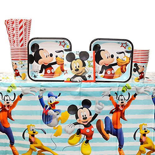 Mickey Mouse On The Go Birthday Party Supplies Pack for 16 Guests | Includes Straws, Dessert Plates, Beverage Napkins, Table Cover, and Cups | Celebrate Your Party with Mickey Mouse and Clubhouse!