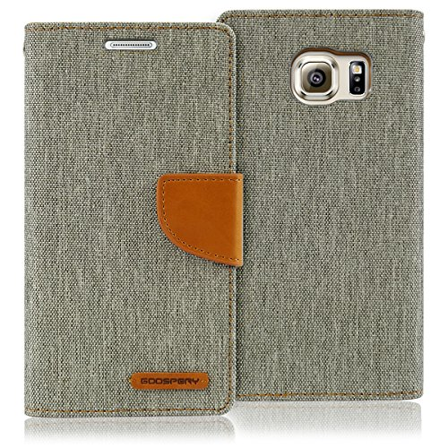 GOOSPERY Canvas Wallet for Samsung Galaxy S6 Case (2015) Denim Stand Flip Cover (Gray) S6-CAN-Gry