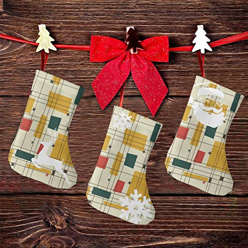 Huishe1 Mid Century Modern Christmas Stockings 3D Santa Snowman Reindeer Xmas Stockings, Reindeer Xmas Character Fireplace for Family Holiday Christmas Party Decorations 3PCS