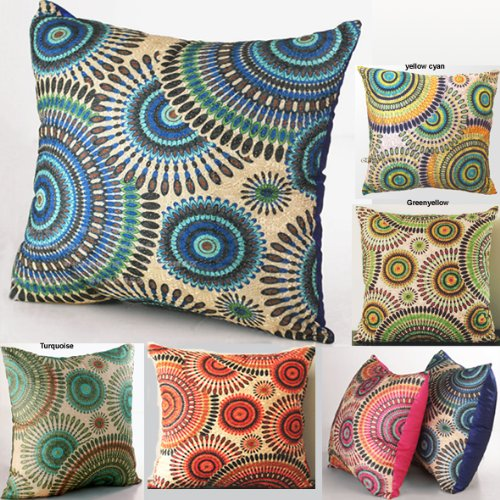 Elleweideco Openwork Embroidery Throw Pillow Cover (One Side) (18x18, Blue Circle)