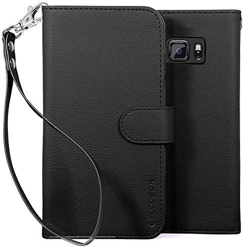 Galaxy S6 Active Case, BUDDIBOX [Wrist Strap] Premium PU Leather Wallet Case with [Kickstand] Card Holder and ID Slot for Samsung S6 Active, (Black)