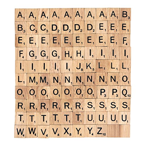 The 100 Scrabble Tiles Alphabet of the Wooden Scrabble Pieces for Word Scrabble Game Board of Education Games Craft Letters and Scrabble Tiles for Wall Decor and Other Wood Pieces for Crafts