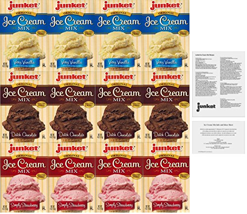 Junket Ice Cream Dessert Mixes - Variety Bundle of 12 with Info Sheet and Homemade Recipes