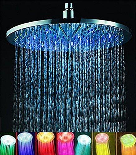 7 colors 8' Rainfall Round Bathroom Shower Head RGB LED Flash Light