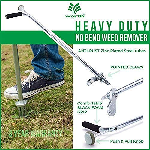 """Worth Garden Stand-Up Weeder and Root Removal Tool - Ergonomic Weed Puller with A 33"""" Tall Handle and Foot Pedal - Easy Weed Grabber Made from Rust-Resistant Steel - 3 Year Warranty"""