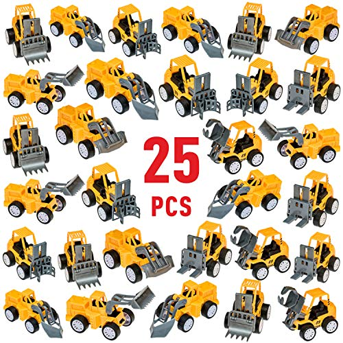 Pull Back Construction Vehicles Toy Set, Christmas Stocking Stuffers - Assortment - Cars and Trucks – Toys for kids Birthday Party Favors – Car, Vehicle, Truck for Boys Toddlers
