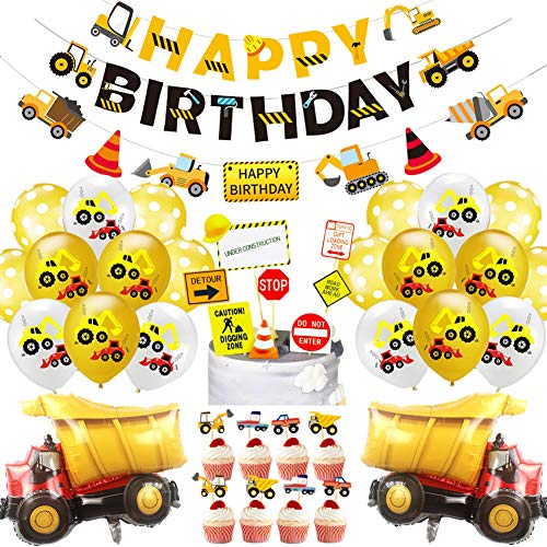 78 Pack Construction Birthday Party Supplies for Boys Construction Theme Birthday Party Decorations Dump Truck Theme Birthday Party Favors Supplies Tractor Banner Balloons Excavators Bulldozers Dump Trucks Cement Trucks Party Decorations Kits for Boys Kids
