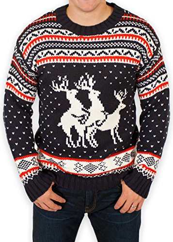 Festified Ugly Christmas Sweater - Reindeer Threesome Sweater (5X-Large) Navy