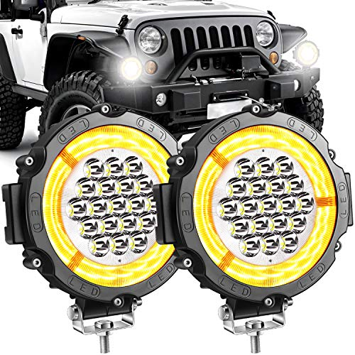 Yorkim 6' Led Round Angel Eye Light Bar LED Pods Off Road LED Light Bar Spot Flood Combo Work Light Fog Lights Driving Lights for Truck Jeep SUV ATV UTV Pickup,2 Pack