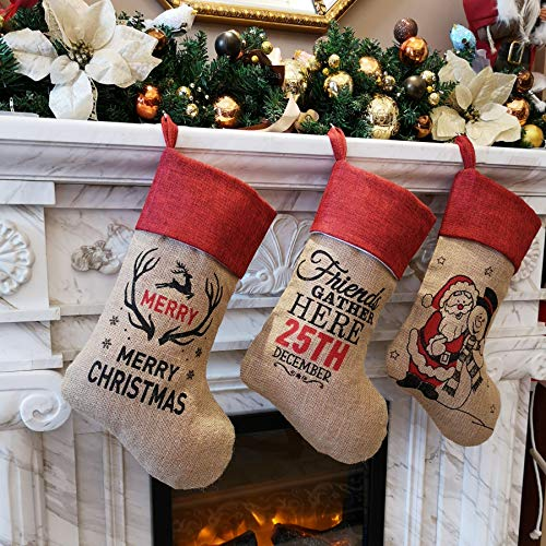 Bstaofy Wewill Traditional Burlap Cartoon Christmas Stockings for Kids Set of 3 Cute Snowman Penguin Image for Christmas Party Gift, 18 Inch