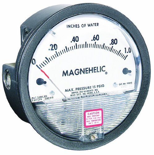 Dwyer 2001D Magnehelic Series 2000 Differential Pressure Gauge, Range 0-1.0'WC & 0-250 Pa