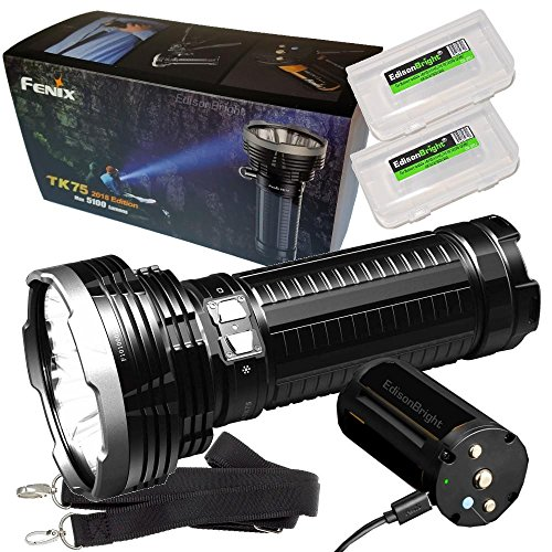 FENIX TK75 5100 Lumen 2018 Edition 4 CREE LED Flashlight/Searchlight with 2 X EdisonBright BBX3 battery carry cases bundle
