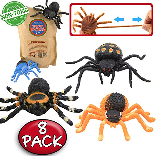 ValeforToy Spider Toy,5 inch Realistic Black Rubber Spiders Toys Set(8 Pack),Food Grade Material TPR Super Stretchy, Creepy Halloween Decoration Party Favors Gag Novelty Practical Jokes Black Widow