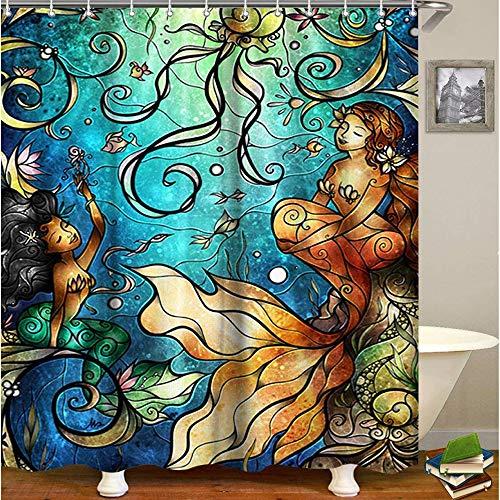 LIVILAN Mermaid Shower Curtain, Jellfish Fabric Bathroom Curtains Set with Hooks Marine Ocean Animals Bathroom Decor Washable 72x72 Inches