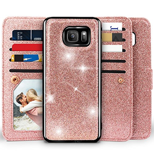 Galaxy S6 Wallet Case, Miss Arts Detachable Magnetic Slim Case with Car Mount Holder, 9 Card/Cash Slots, Magnet Clip, Wrist Strap, PU Leather Cover for Samsung Galaxy S6 -Rose Gold