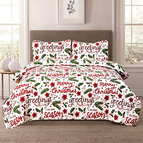 King Holiday Quilt Bedding Set Christmas Winter Script, Red Green and White