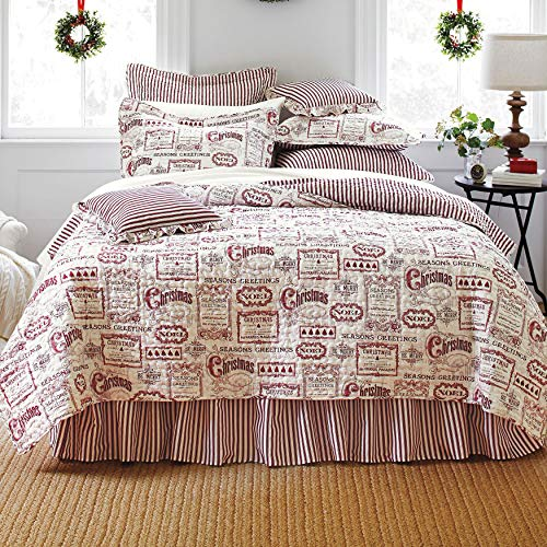 BrylaneHome Vintage Christmas 4-Pc. Quilt Set - King, Ivory Red