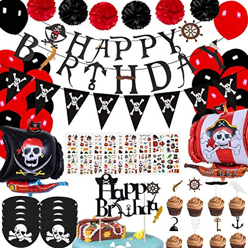 Pirate Birthday Party Decorations for Kids Pirate Theme Party Supplies Birthday Party Baby Shower Pirate Happy Birthday Banner Pirate Balloons Eye Patch
