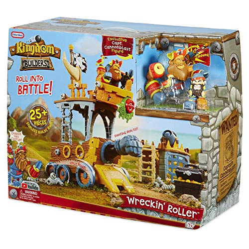 Little Tikes Kingdom Builders - Wreckin Roller Featuring Bashers Leader Captain Cannonblast with 25+ Roller Pieces Including Dropping Balcony, Shooting Iron Fist, Cannon, and Many More | Kids Ages 3+