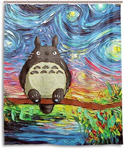 DressYourHome Inc Personalized Custom Shower Curtain,Anime Aja Kusick The Starry Night My Neighbor Totoro Shower Curtain,60 W X 72 L Inches