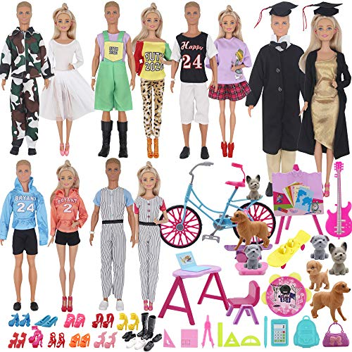 ZTWEDEN 77Pcs Doll Clothes and Accessories for 12 Inch Boy Doll and Girl Doll Campus Series Include 26 Clothes Shirt Jeans Suit Dress Outfits Shoes Graduation Gown Bicycle Pet Animal School Supplies