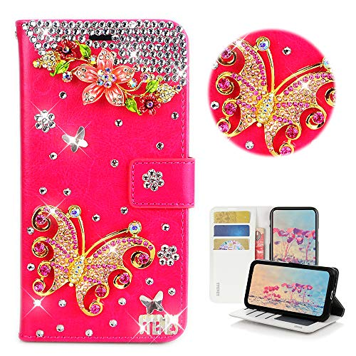 STENES Bling Wallet Phone Case Compatible with Samsung Galaxy S6 Active - Stylish - 3D Handmade Pretty Flowers Butterfly Glitter Design Flip Leather Cover Case - Red