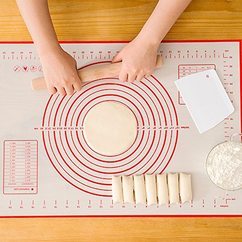 Silicone Baking Mat, Non-Stick Pastry Mat Extra Large with Measurements for Baking -Dough Rolling Mat, Counter Mat, Heat-Resistance Oven Liner, Fondant Mat, Pie Crust Mat (23.6 x 15.7 Inch)