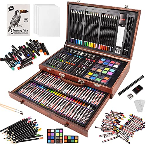 148 Piece Deluxe Art Set, Artist Drawing&Painting Set, Art Supplies with Wooden Case, Professional Art Kit for Kids, Teens and Adults