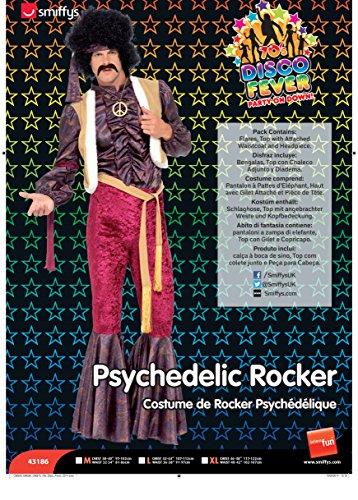 Smiffys Men M-US Size 38'-40' 70s Psychedelic Rocker Costume, Purple